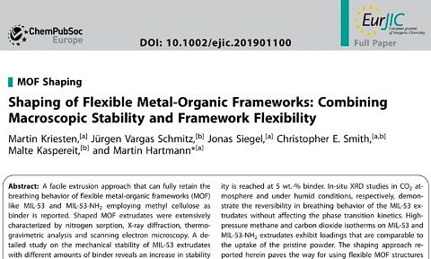 "Zum Artikel ""Paper by Martin Kriesten et al. on shaping flexible MOFs acknowledged"""